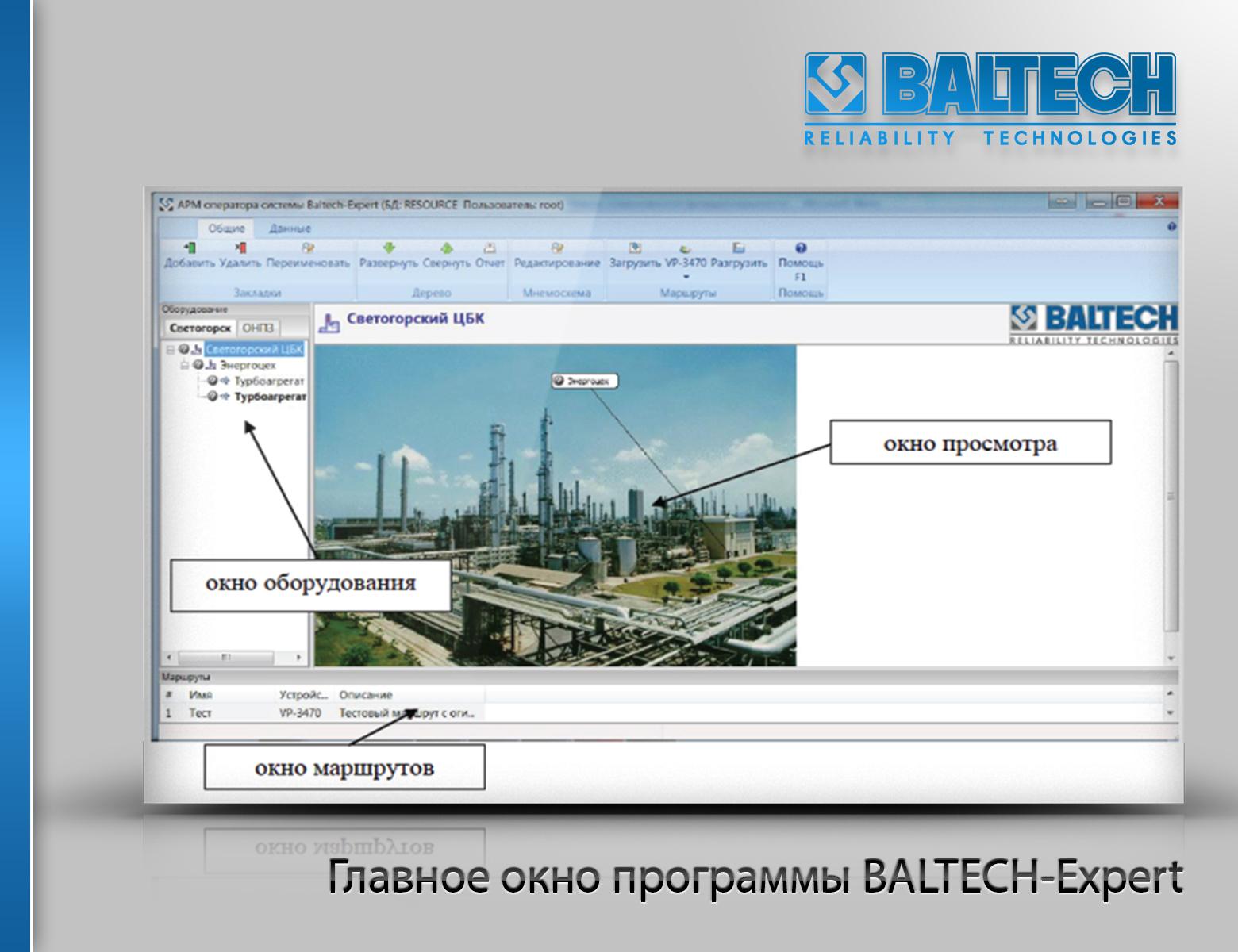 Главное окно программы BALTECH Expert, Программное обеспечение для вибродиагностики