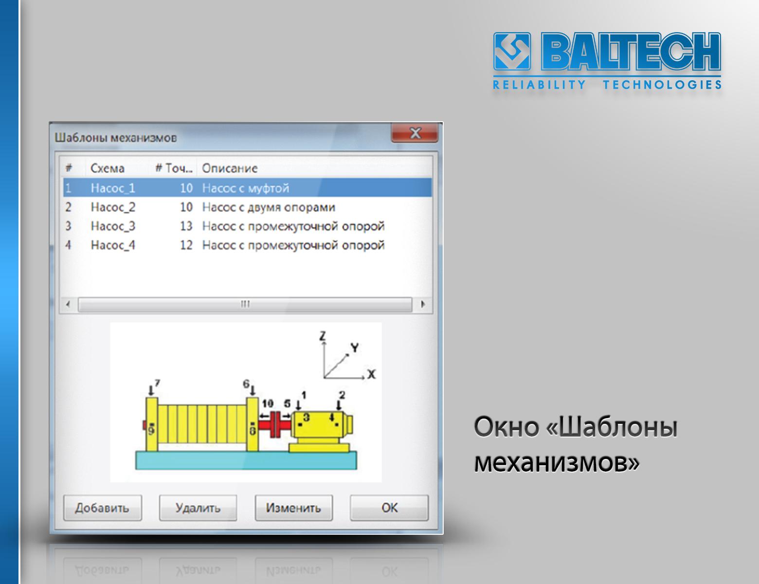 Окно Шаблоны механизмов, Программное обеспечение BALTECH-Expert, вибродиагностика